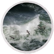 Pelicans And Surf Round Beach Towel