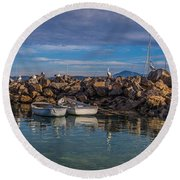 Pelicans At Eden Wharf Round Beach Towel