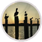Pelicans At Sunset Round Beach Towel