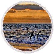 Pelicans Crusing The Coast Round Beach Towel