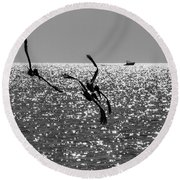 Pelicans Flying By - Black And White Round Beach Towel