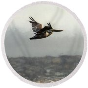 Pelicans Flying Over San Francisco Bay Round Beach Towel