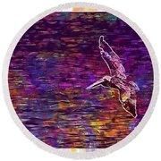 Pelikan Bird Brown Pelican  Round Beach Towel