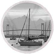 Pell Bridge Newport Harbor Newport Ri Rhode Island Purple Sunset Black And White Round Beach Towel