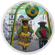 Pelourinho - Historic Center Of Salvador Bahia Round Beach Towel