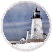 Pemaquid Point Lighthouse In Winter Round Beach Towel
