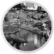 Pemaquid Point Lighthouse Maine Black And White Round Beach Towel