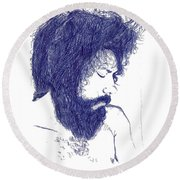 Pen Portrait Round Beach Towel