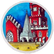 Pena Palace In Portugal Round Beach Towel