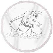 Pencil Drawing Of Walt Disney's Dumbo Round Beach Towel