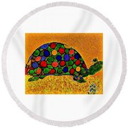 Pencil Sketch And Water Color Turtle Of The Rainbow Round Beach Towel