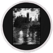 Pencil Sketch The Dolceaoque Castle Round Beach Towel