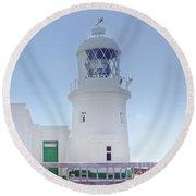 Pendeen Lighthouse Cornwall Round Beach Towel