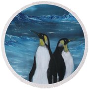 Penguin Family Expectant Again Round Beach Towel