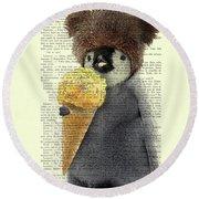 Penguin Ice Cream Round Beach Towel