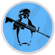 Penguin Soldier Round Beach Towel by Pixel Chimp