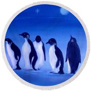 Penguins On A Night Out.sold Round Beach Towel