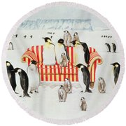 Penguins On A Red And White Sofa  Round Beach Towel by EB Watts