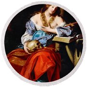 Penitent Mary Magdalene Round Beach Towel