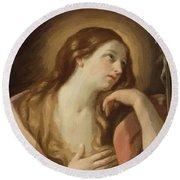 Penitent Mary Magdalene Round Beach Towel