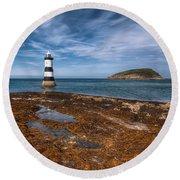 Penmon Lighthouse Round Beach Towel