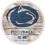 Penn State // Football // Distressed Wood Round Beach Towel