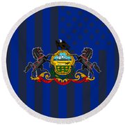 Pennsylvania State Flag Graphic Usa Styling Round Beach Towel