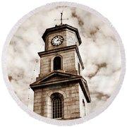 Penryn Clock Tower In Sepia Round Beach Towel