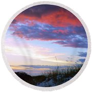 Pensacola Sunset After The Storm Round Beach Towel