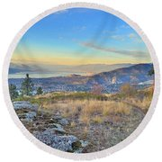 Penticton In The Distance Round Beach Towel