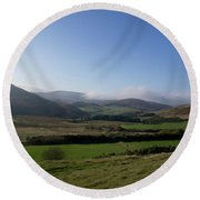 Pentlands With Clouds And Some Sun. Round Beach Towel