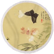 Peonies And Butterflies Round Beach Towel