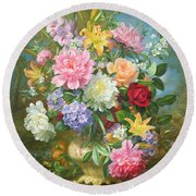 Peonies And Mixed Flowers Round Beach Towel