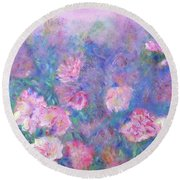 Peonies Round Beach Towel