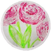 Peonies In Bloom Round Beach Towel