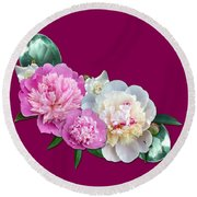 Peonies In Pink And Blue Round Beach Towel