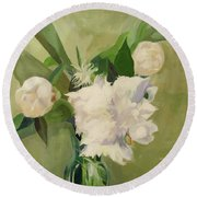 Peonies On Green Round Beach Towel
