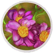 Peonies On Holiday Round Beach Towel