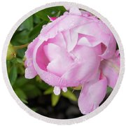 Peony After The Rain Round Beach Towel