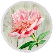 Peony At The Fence Round Beach Towel