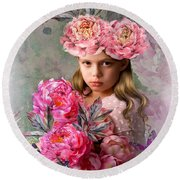 Peony Flower Child Round Beach Towel