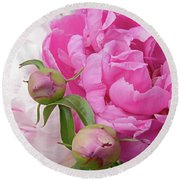 Peony Pair In Pink And White  Round Beach Towel