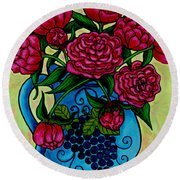 Peony Party Round Beach Towel