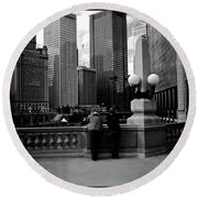 People And Skyscrapers - Square Round Beach Towel