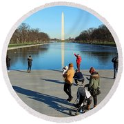 People At The Reflecting Pool Round Beach Towel