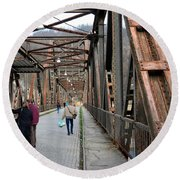 People Crossing Old Yugoslav Weathered Metal Bridge Crossing In Bosnia Hercegovina Round Beach Towel