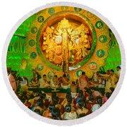 People Enjoying Inside Durga Puja Pandal Durga Puja Festival Round Beach Towel