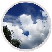 People In The Clouds Round Beach Towel