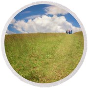 People On The Hill Painterly Round Beach Towel