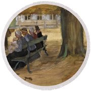 People Sitting On A Bench In Bezuidenhout. The Hague Round Beach Towel